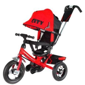 """Трехколесный велосипед City с надувными колесами 10"""" и 8"""" (ярко-красный)"""