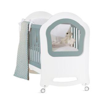 Кроватка Feretti Princier (колесо) (бело-бирюзовая)