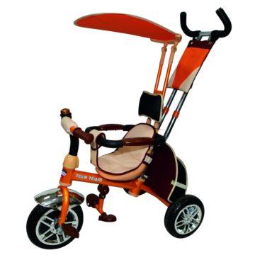 """Трехколесный велосипед TechTeam 954-2 с ПВХ-колесами 12"""" и 10"""" (оранжевый)"""