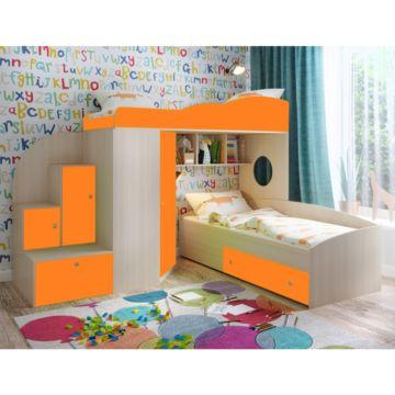 Кровать двухъярусная Ярофф Кадет 2 (дуб молочный/оранжевый)