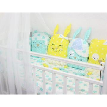 Комплект белья с бортиками-игрушками by Twinz (13 предметов, бязь) Друзья желтые