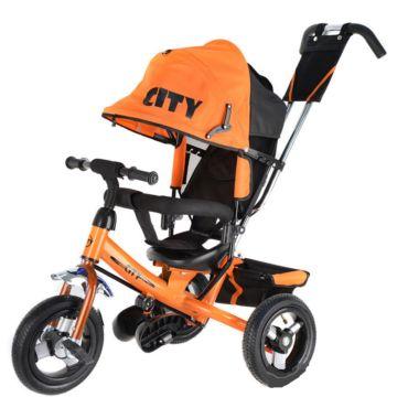 """Трехколесный велосипед City с надувными колесами 10"""" и 8"""" (оранжевый)"""