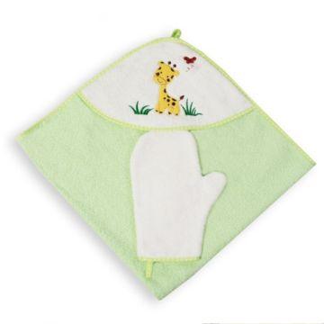 Полотенце с уголком Baby Care Жирафик с рукавичкой 80х77см (зеленое)