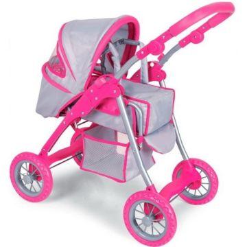 Коляска для куклы Melobo 9388S (Серо-розовый)