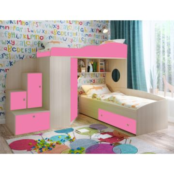 Кровать двухъярусная Ярофф Кадет 2 (дуб молочный/розовый)