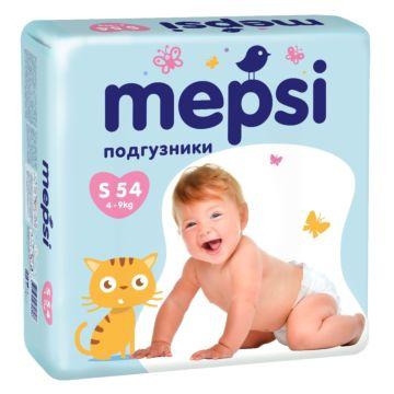 Подгузники Mepsi с рельефным внутренним слоем S (4-9 кг) 54 шт.