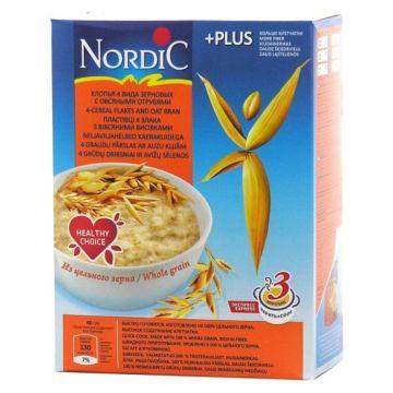 Каша Nordic хлопья 4-х зерновые с овсяными отрубями 600 г
