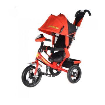 """Трехколесный велосипед Trike Power New c надувными колесами 12"""" и 10"""" с фарой (красный)"""
