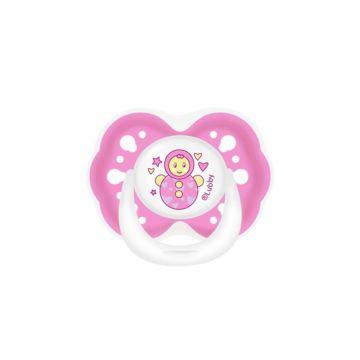 Пустышка Lubby Малыши и малышки со скошенным соском (от 0 мес.) (Розовый)