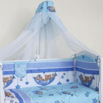 Комплект постельного белья Happy Dreams Мишки в гамаке 120х60см (7 предметов, хлопок) (голубой)