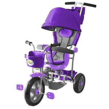 """Трехколесный велосипед Galaxy Лучик с ПВХ-колесами 10"""" и 8"""" с капюшоном (фиолетовый)"""