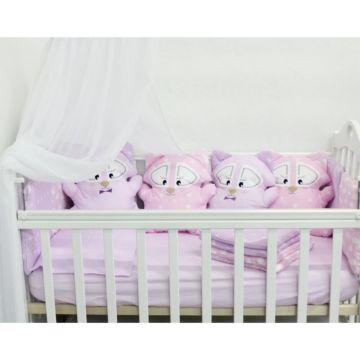 Комплект белья с бортиками-игрушками by Twinz (13 предметов, бязь) Еноты розовые