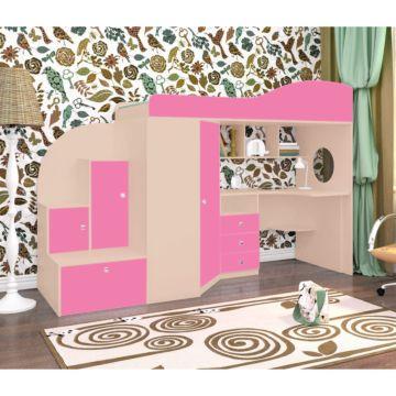 Кровать-чердак Ярофф Кадет 1 (дуб молочный/розовый)