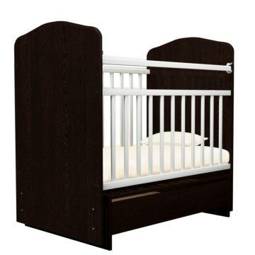 Кроватка детская Агат Золушка-10/1 (поперечный маятник) с ящиком (Шоколад+Белый)