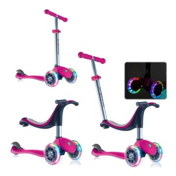 Самокат Globber Evo 4 in 1 со светящимися колесами (pink)