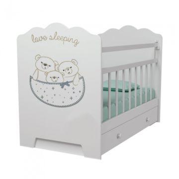 Кроватка детская ВДК Love Sleeping (поперечный маятник) (белый)