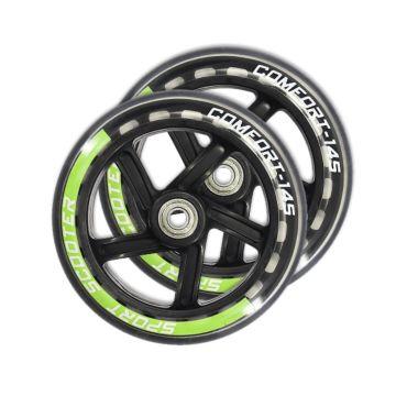 Набор колес и подшипников для самоката TechTeam 145 мм (черно-зеленый)