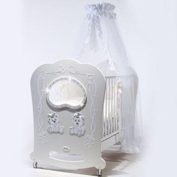 Кроватка детская Feretti Majesty Brilliante (качалка-колесо) (белая)