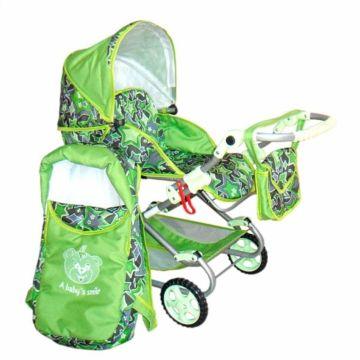 Коляска для куклы Wakart Дарья 3 (зеленая)