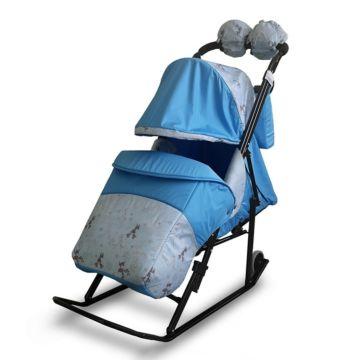 Санки-коляска Kristy Comfort Plus (олень/голубой)