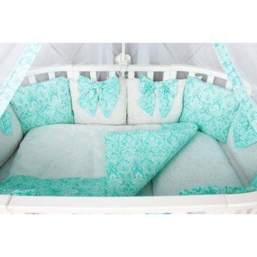 Комплект постельного белья AmaroBaby Элит Premium (18 предметов, бязь) (мятный)