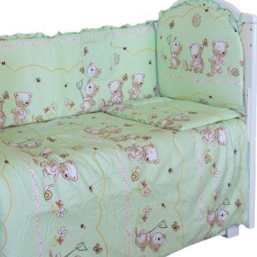 Комплект постельного белья Happy Dreams Медвежата 120х60см (7 предметов, хлопок) (зеленый)