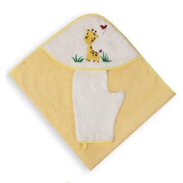 Полотенце с уголком Baby Care Жирафик с рукавичкой 80х77см (желтое)