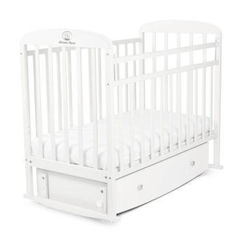 Кроватка детская Альма-Няня Милана с ящиком (поперечный маятник) (белый)