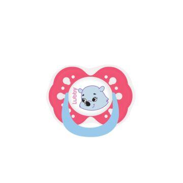 Пустышка Lubby Весёлые животные с симметричным соском (от 6 мес.) (Розовый)