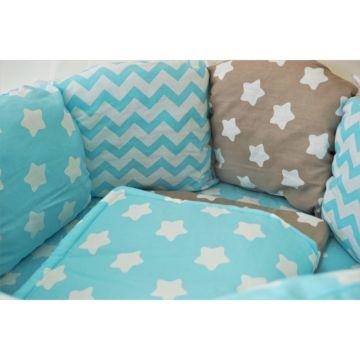 Комплект постельного белья Sleep and Smile (11 предметов, хлопок) (голубые звезды)