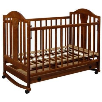 Кроватка детская Наполеон New (качалка-колесо) (орех)