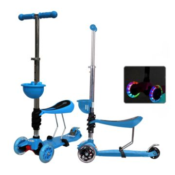 Самокат Babyhit ScooterOK Tolocar с сиденьем и светящимися колесами (голубой)
