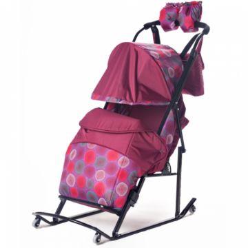 Санки-коляска Kristy Comfort Plus (бордо/круги)