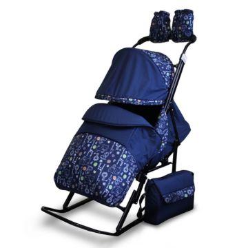Санки-коляска Kristy Comfort Plus (зоопарк/синий)