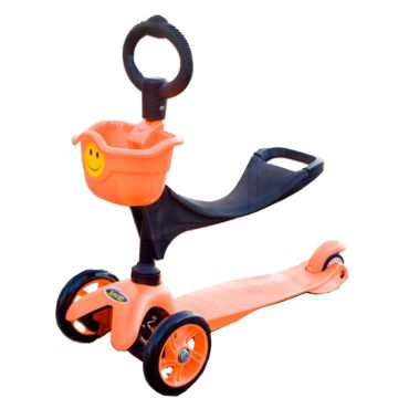 Самокат Smiley 3 в 1 с о-рулем и корзиной (оранжевый)