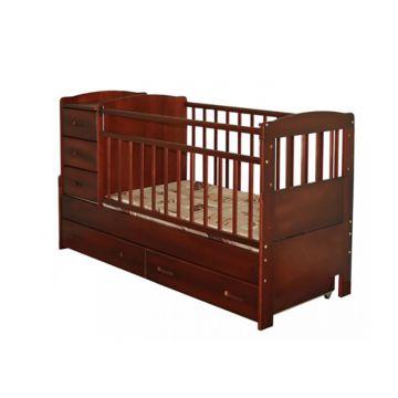 Кроватка-трансформер Noony Wood Chalet (поперечный маятник) (красное дерево)