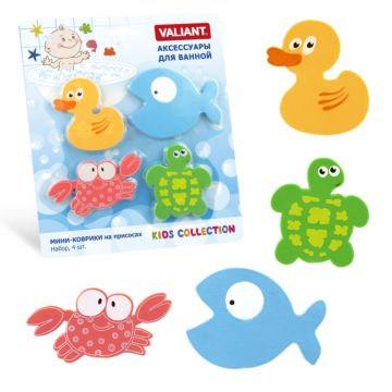 Набор мини-ковриков для купания Valiant Микс Глазастики