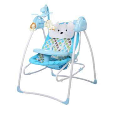 Электрокачели Baby Care Butterfly с адаптером (2 в 1) (синий)