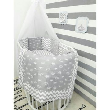 Комплект белья для овальной кроватки by Twinz (15 предметов, хлопок) (короны серые)