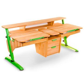 Растущая парта Pondi Эргономик для двоих детей (бук массив/зеленый)