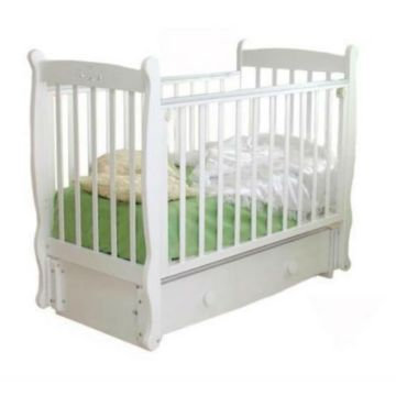 Кроватка детская Можга Елисей С 717 Птички (продольный маятник) (белый)