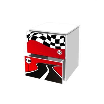 Тумба с ящиками Кроватка5 Гонка Красная 2