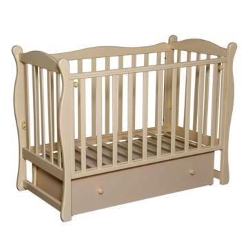 Кроватка детская Кедр Любаша 6 (поперечный маятник) (слоновая кость)