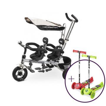 Велосипед для двойни Small Rider Platinum (два самоката в подарок)
