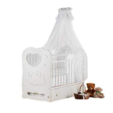 Кроватка детская Островок Уюта Слоненок (поперечный маятник) (белый)