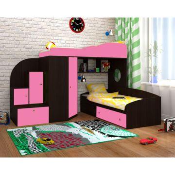 Кровать двухъярусная Ярофф Кадет 2 (венге темный/розовый)
