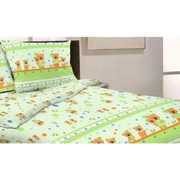 Комплект постельного белья Happy Dreams Мишки и Зайки 120х60см (7 предметов, хлопок) (зеленый)