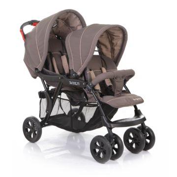 Коляска прогулочная для двойни Baby Care Tandem (коричневый/серый)