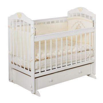 Кроватка детская с ящиком Incanto Sofi (поперечный маятник) (белый)