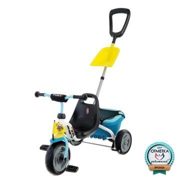 """Трехколесный велосипед Puky CAT 1SP с ПВХ-колесами 9"""" и 7"""" (белый/синий)"""